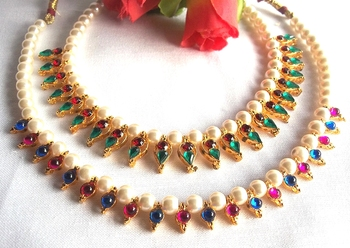 Multi Color With pink and blue Pearl Necklace