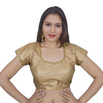 Gold art silk Self Design stitched blouse
