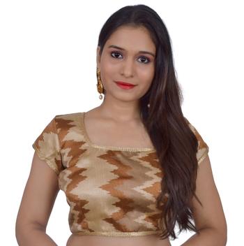 Cream art silk Self Design stitched blouse