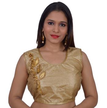 Gold art silk Embellished stitched blouse