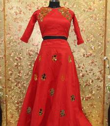 Buy Red color mirror work Fentom fabric Full Stitched crop-top with blouse crop-top-lehenga online