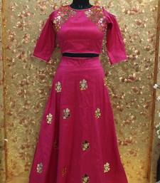 Buy Pink color mirror work Fentom fabric Full Stitched crop-top with blouse readymade-lehenga-cholis online