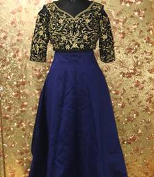 Buy Blue color Embroidered work Mulburin fabric Full Stitched crop-top with blouse silk-lehenga online