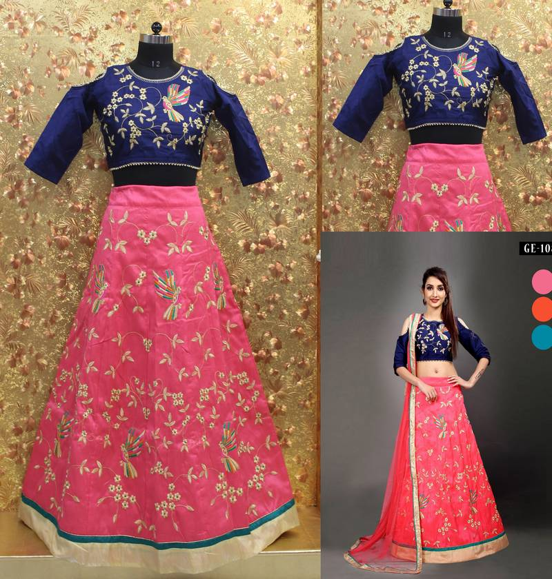 5011e21099d ... Pink color Embroidered work Mulburin fabric Full Stitched crop-top with  blouse