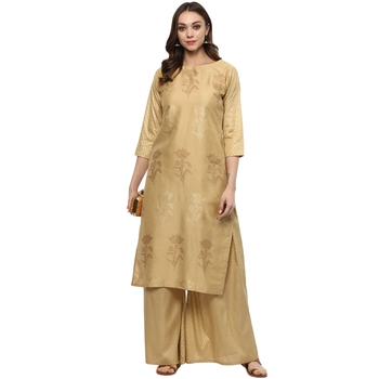 Chiku Colour straight polysilk Gold Foil Print Kurta