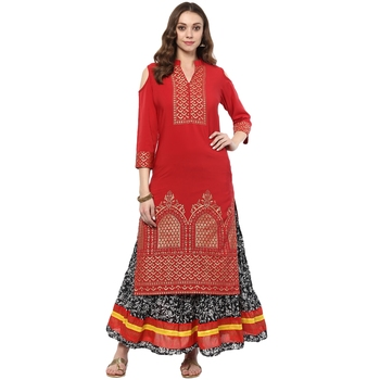 Red Colour Straight Crepe Gold Foil Print Kurta