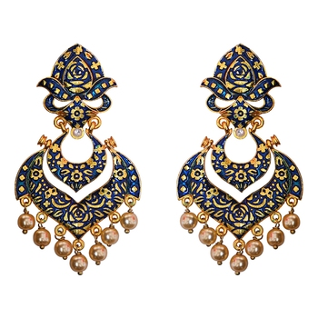 Meenakari green kundan single color gold plated brass double layer dangler earrings set