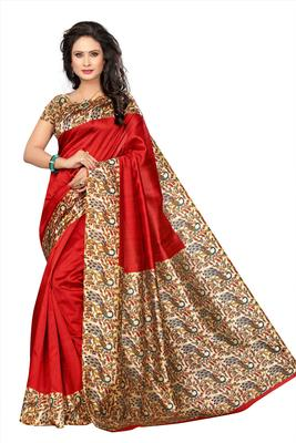 Red Printed Art Silk Sarees Saree