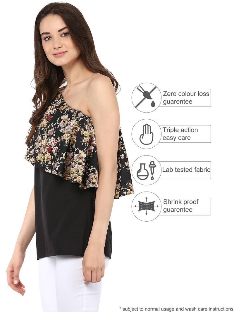b70ef889976 Black Vintage Floral One Shoulder Top - Rosah - 2524097