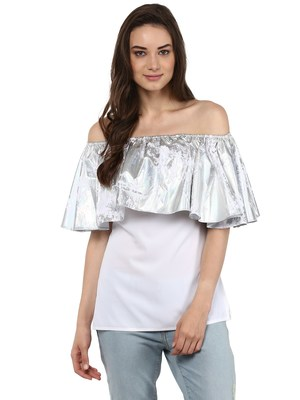 White Off Shoulder Top with Silver Metallic Ruffle