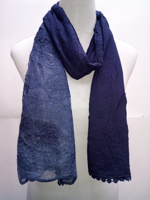 Blue Cotton Islamic Style Stole Scarf Daily Wear Naqab  Arabian Hijab