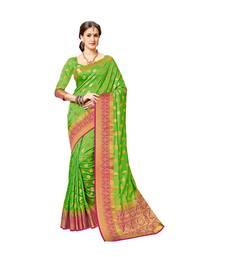 Buy Bright wedding silk saree Green woven pure silk blend saree with blouse wedding-saree online