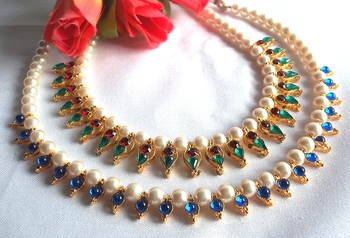 Multi Color with Blue Beads Pearl Necklace