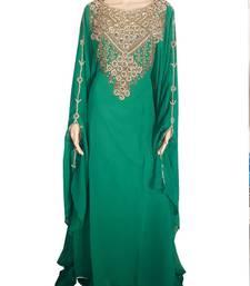 Green Zari Stone Work Georgette Islamic Style Arabian gown Beads Embedded PartyWear Farasha