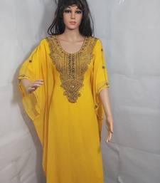 Yellow Zari Work Stones and Crystal Embedded Georgette Islamic Maxi Arabian Gown Party Wear Farasha