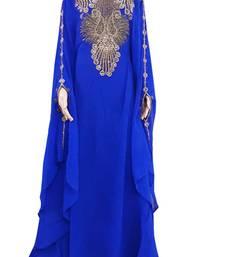 Blue Zari Stone Work Georgette Islamic Style Arabian gown Beads Embedded PartyWear Farasha