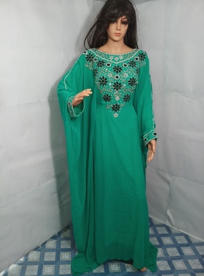 Teal Zari Work Stones and Crystal Embedded Georgette Islamic Maxi Arabian Gown Party Wear Farasha