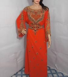 Orange Zari Work Stones and Crystal Embedded Georgette Islamic Maxi Arabian Gown Party Wear Farasha