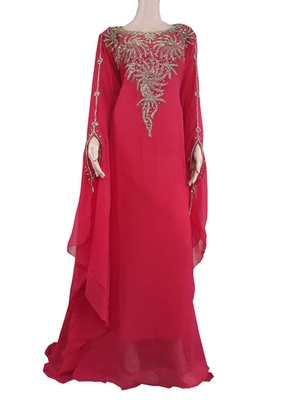 Red Zari Stone Work Georgette Islamic Style Arabian gown Beads Embedded PartyWear Farasha