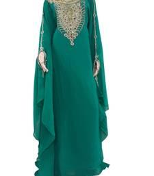 Teal Zari Stone Work Georgette Islamic Style Arabian gown Beads Embedded PartyWear Farasha