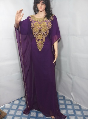 Purple Zari Work Stones and Crystal Embedded Georgette Islamic Maxi Arabian Gown Party Wear Farasha