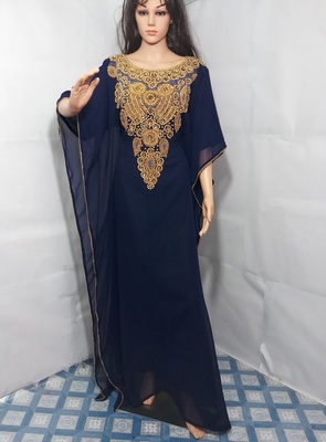 Blue Zari Work Stones and Crystal Embedded Georgette Islamic Maxi Arabian Gown Party Wear Farasha