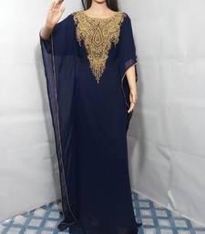 Blue Zari Work Stones and Crystal Embedded Georgette Islamic Maxi Arabian Gown Party Wear Farasha