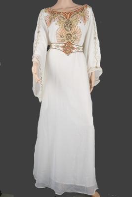 White Zari Stone Work Georgette Islamic Style Arabian gown Beads Embedded PartyWear Farasha