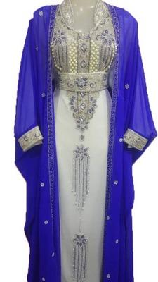 Blue Zari Work Stones and Crystal Embedded Georgette Islamic Maxi Arabian Gown Party Wear Kaftan :: 1 Jacket
