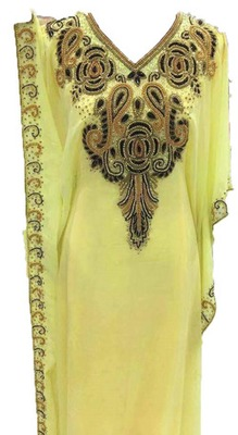 Yellow Zari Work Stones and Crystal Embedded Georgette Islamic Maxi Arabian Gown Party Wear Farasha