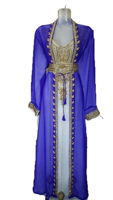 Blue Zari Work Stones and Crystal Embedded Georgette Islamic Maxi Arabian Gown Party Wear Kaftan :: 1 Jacket