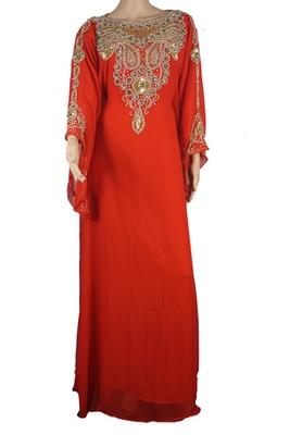 Orange Zari Stone Work Georgette Islamic Style Arabian gown Beads Embedded PartyWear Farasha