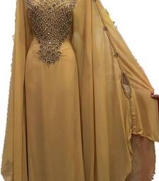 Beige Zari Work Stones and Crystal Embedded Georgette Islamic Maxi Arabian Gown Party Wear Farasha