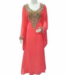 Pink Zari Work Stones and Crystal Embedded Georgette Islamic Maxi Arabian Gown Party Wear Farasha