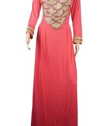 Pink Zari Stone Work Georgette Islamic Style Arabian gown Beads Embedded PartyWear Farasha