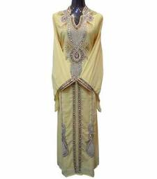 Light Yellow Zari Work Stones and Crystal Embedded Georgette Islamic Maxi Arabian Gown Party Wear Kaftan