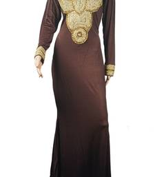 Brown Zari Stone Work Georgette Islamic Style Arabian gown Beads Embedded PartyWear Farasha