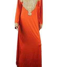 Orange Zari Stone Work Lycra Islamic Style Arabian gown Beads Embedded PartyWear Farasha