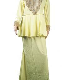 Yellow Zari Stone Work Georgette Islamic Style Arabian gown Beads Embedded PartyWear Farasha