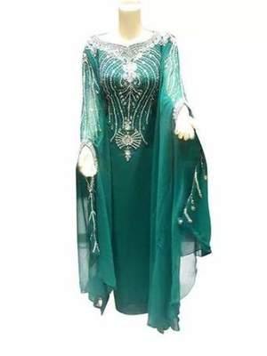 Green Zari Work Stones and Crystal Embedded Georgette Islamic Maxi Arabian Gown Party Wear Farasha