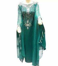 Green Zari Work Stones and Crystal Embedded Georgette Islamic Maxi Arabian Gown Party Wear Farasha