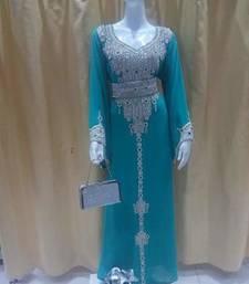 Teal Zari Work Stones and Crystal Embedded Georgette Islamic Maxi Arabian Gown Party Wear Kaftan