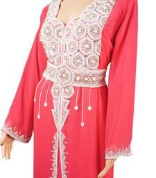 Peach Zari Stone Work Georgette Islamic Style Arabian gown Beads Embedded PartyWear Farasha