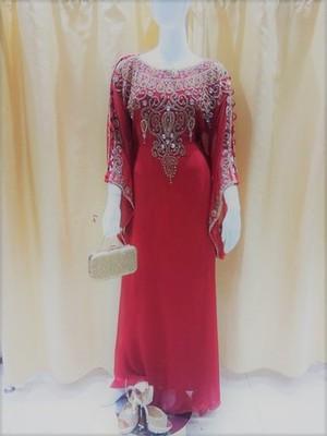 Red Zari Work Stones and Crystal Embedded Georgette Islamic Maxi Arabian Gown Party Wear Farasha