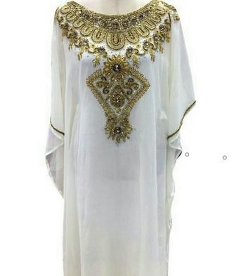 White Zari Work Stones and Crystal Embedded Georgette Islamic Maxi Arabian Gown Party Wear Farasha