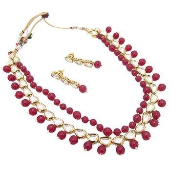 Kundan Ruby Designer Double Line Necklace set