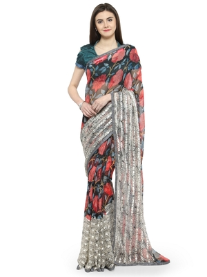 Multicolor brasso saree with blouse