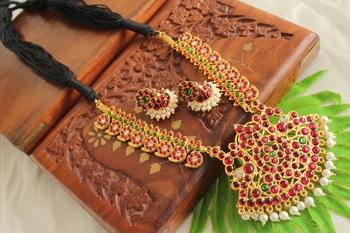 Beautiful Handmade Kemp Green Mango Temple Necklace Set