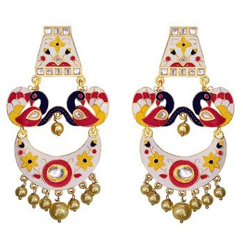 Trendy meenakari peacock shape double layer chaand bali brass earring set