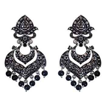 Meenakari German Silver Plated Double Layer Chaand Bali Brass Jhumka Earring Set